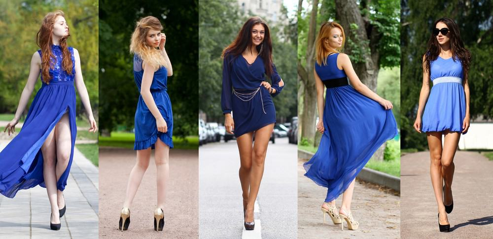 women in navy blue dress
