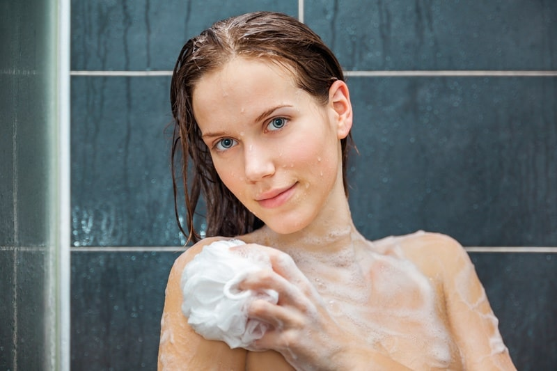 women showering